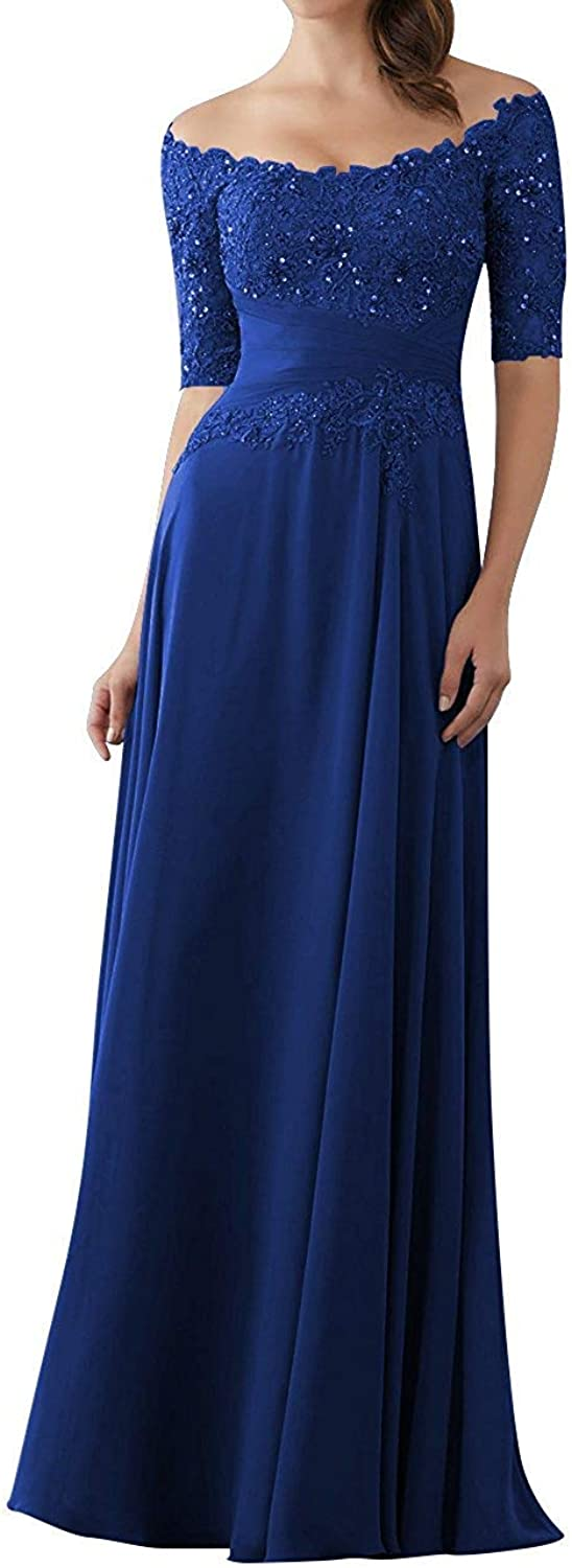Mother of The Bride Dresses with Half Sleeves Lace Long Appliques Evening Party Gown