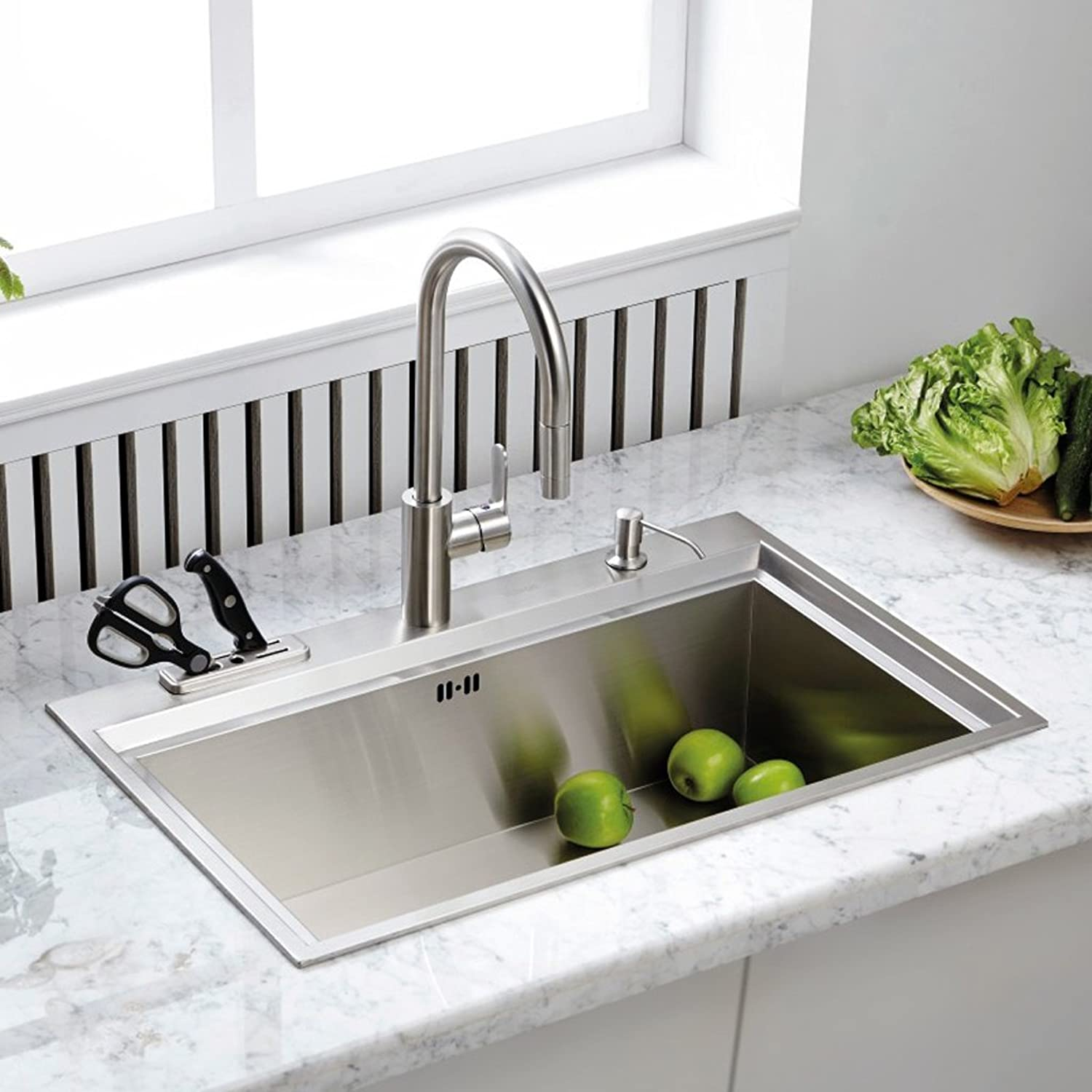 Sun LL Kitchen Sink Vegetable Basin Pulling Faucet Hot And Cold Water 304 Stainless Steel