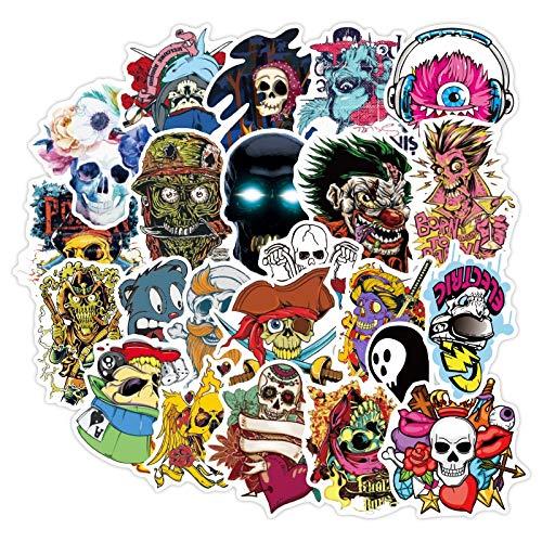 DUOYOU Terror Series Skull Graffiti Car Stickers Funda de viaje Laptop Skateboard Guitarra Impermeable Calcomanía Niño Clásico Juguete 50pcs