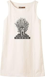 Iron Throne Of Westeros Printed Vintage Cotton Linen Mini Shift Dress WDS_01 2