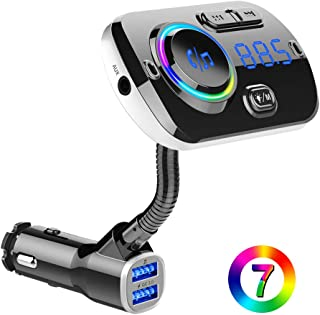 BTMAGIC Bluetooth FM Transmitter, 7 Color LED Car Adapter with QC3.0, Siri Google Assistant, Handsfree Car Kit