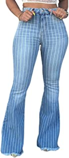 Women High Waisted Flared Legs Washed Striped Jeans