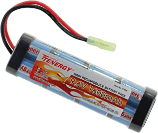 Tenergy 9.6V Airsoft Battery High Capacity 1600mAh NiMH Flat Battery Pack with Mini Tamiya Connector for Airsoft Guns MP5, Scar, M249, M240B, M60, G36, M14, RPK, PKM (Optional Charger)