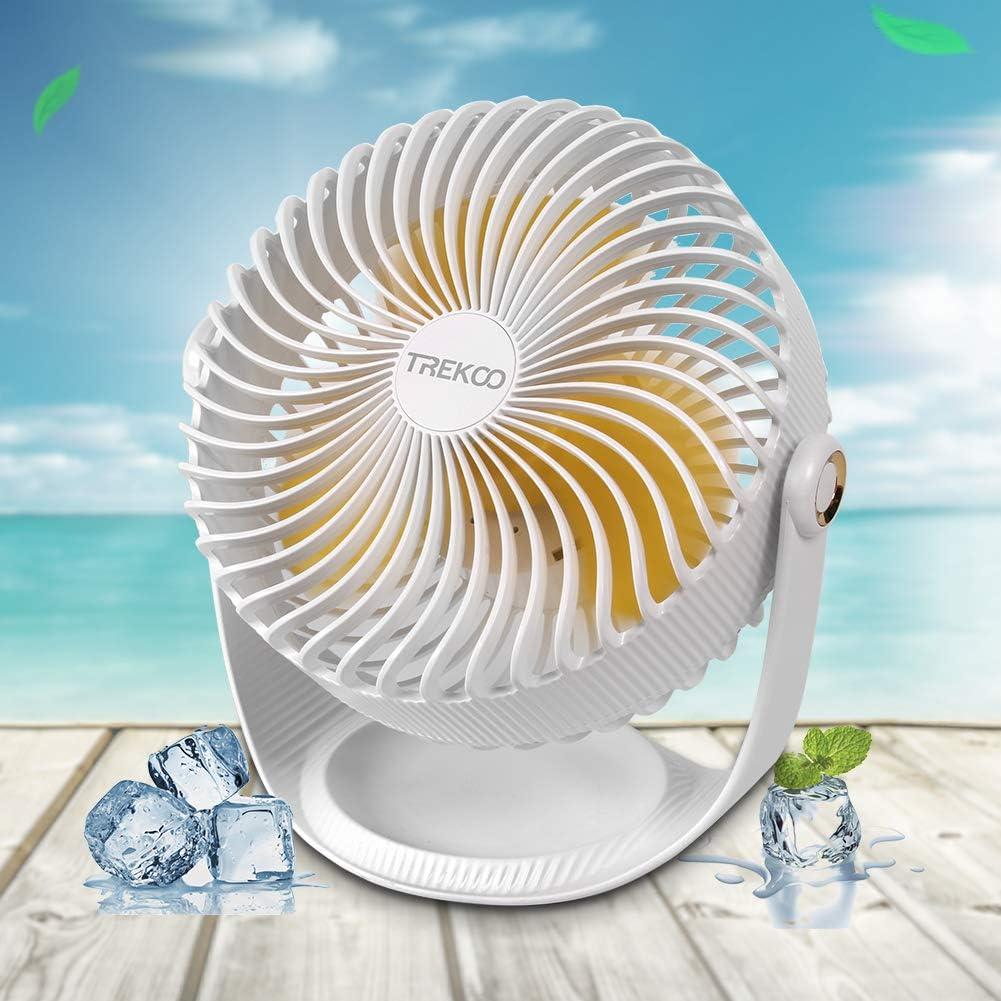 Desk Fan, TREKOO USB Rechargeable Battery Operated Portable Fan Small Fan, Mini Fan for Personal Cooling, Camping