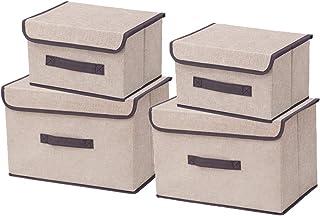Kewayer Boîtes de Rangement Pliables en Tissu avec Couvercles, Lot de 4 Boîte de Rangement en Coton et Lin pour Vêtements,...