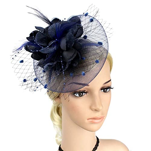 JasmineLi Wedding Fascinator Tea Party Hats Flower Feather Veils Fascinator  Hat 7ababdef689