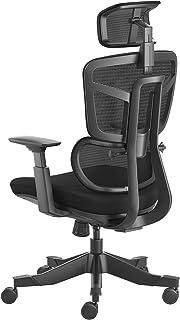 Hbada オフィスチェア デスクチェア 椅子 昇降アームレスト 可動式ヘッドレスト腰痛 ランバーサポート 可動式背もたれ ハイバック メッシュ 約115度リクライニング 通気性 360度回転 座面昇降 強化ナイロン樹脂ベース 静音PUキャスター