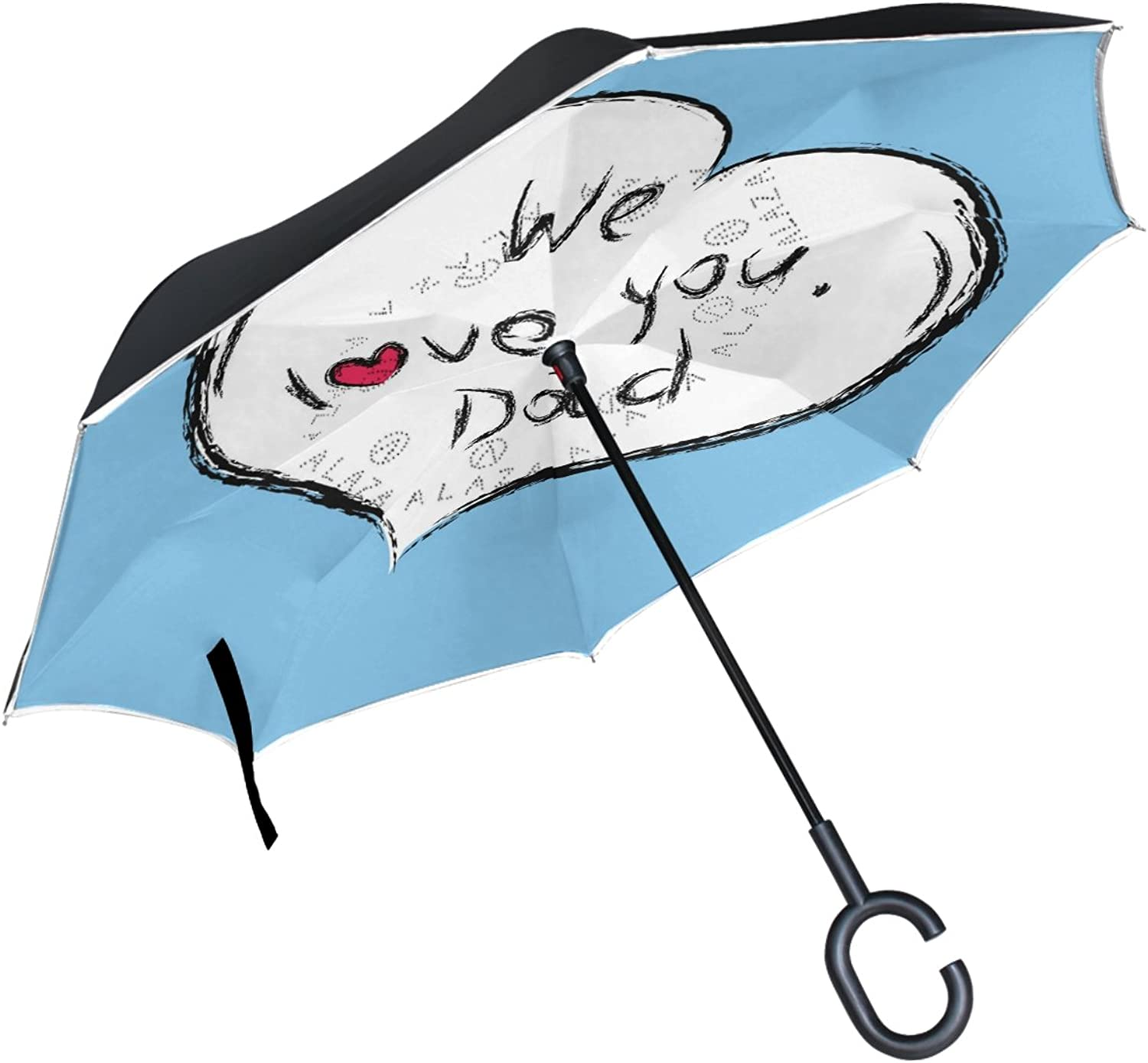 ALAZA Happy Father'S Day Heart Shaped Ingreened Double Layer Windproof Reverse Umbrella