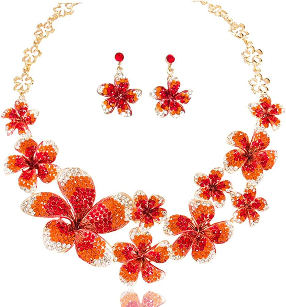 LAN PALACE Glass Rhinestone Crystal Jewelry Sets for Wedding Dress Gold Plated Statement Wedding Necklace and Earrings for Party Beautiful Flowers Bridal Jewelry Gift Box