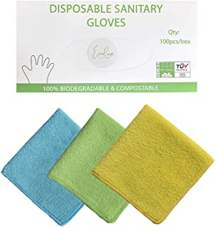 EcoLuxe Living 100PCS Biodegradable Disposable Gloves for Kitchen Cleaning Cooking & Protection | Latex Free Powder Free |...