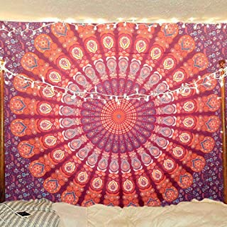 Bless International Indian Hippie Bohemian Psychedelic Peacock Mandala Wall Hanging Bedding Tapestry (Blue Red, Twin(54x72Inches)(140x185cms))