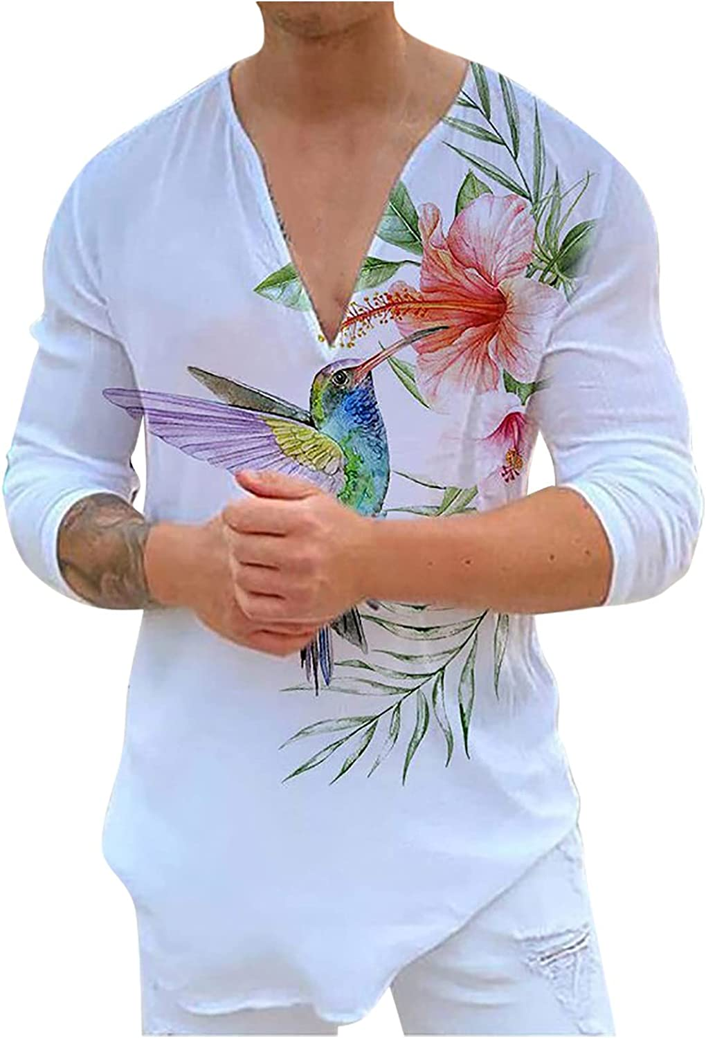 Men's Imitation Cotton Shirt Ultra-Cheap Deals Limited time cheap sale Casual Loose Pullov Printed Graphic