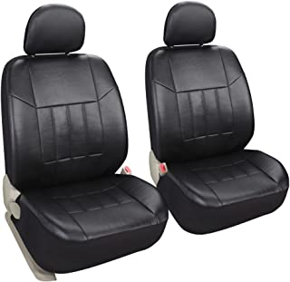 Leader Accessories Auto 2 Leather Black Seat Covers Universal Fit Cars SUV Trucks Front Seats Low Back with Airbag