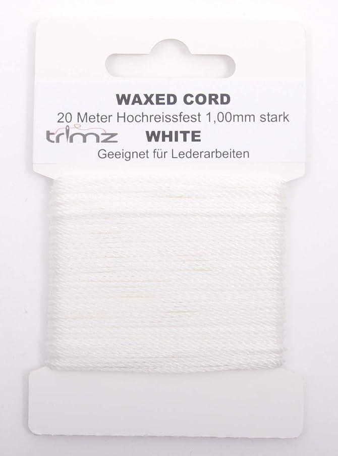 Trimz Waxed Cord, White, 20m x 1mm