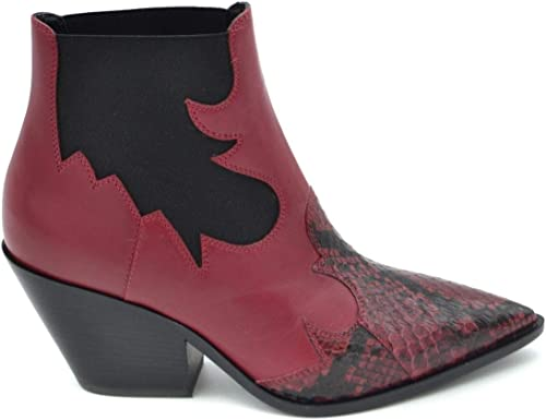 Casadei Damen MCBI37227 Rot Leder Stiefeletten