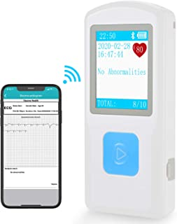 1byone Portable Wireless ECG EKG Monitor Home Monitoring Devices for Health Care Use, Heart Rate Tracking Monitor, App Support, iOS & Android Smartphones (PC Software,Both Windows & Mac)