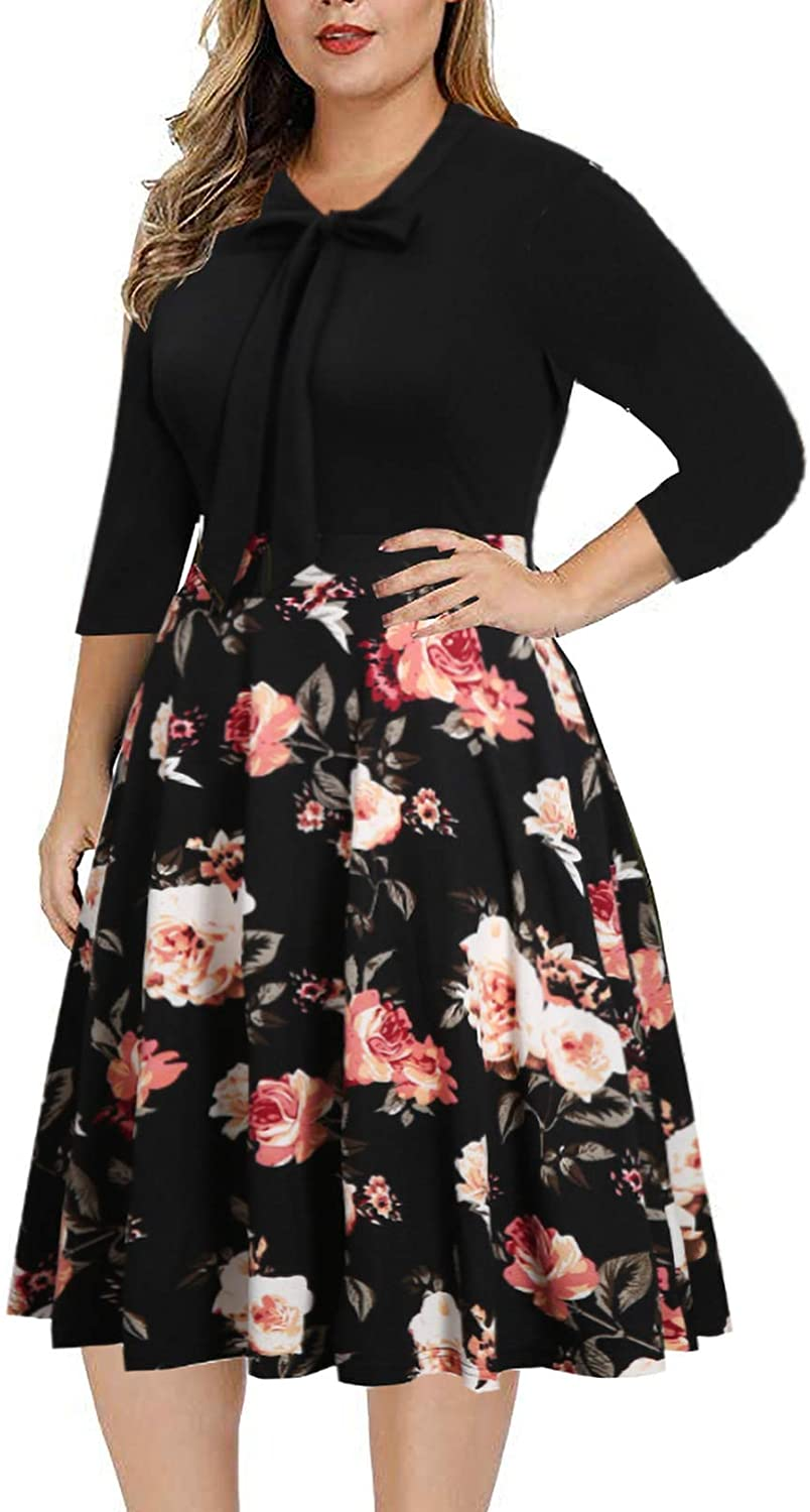 BEDOAR Women's Vintage Bow Tie V-Neck 3/4 Sleeve Pockets Casual Plus Size Work Party Cocktail Swing A-line Dresses