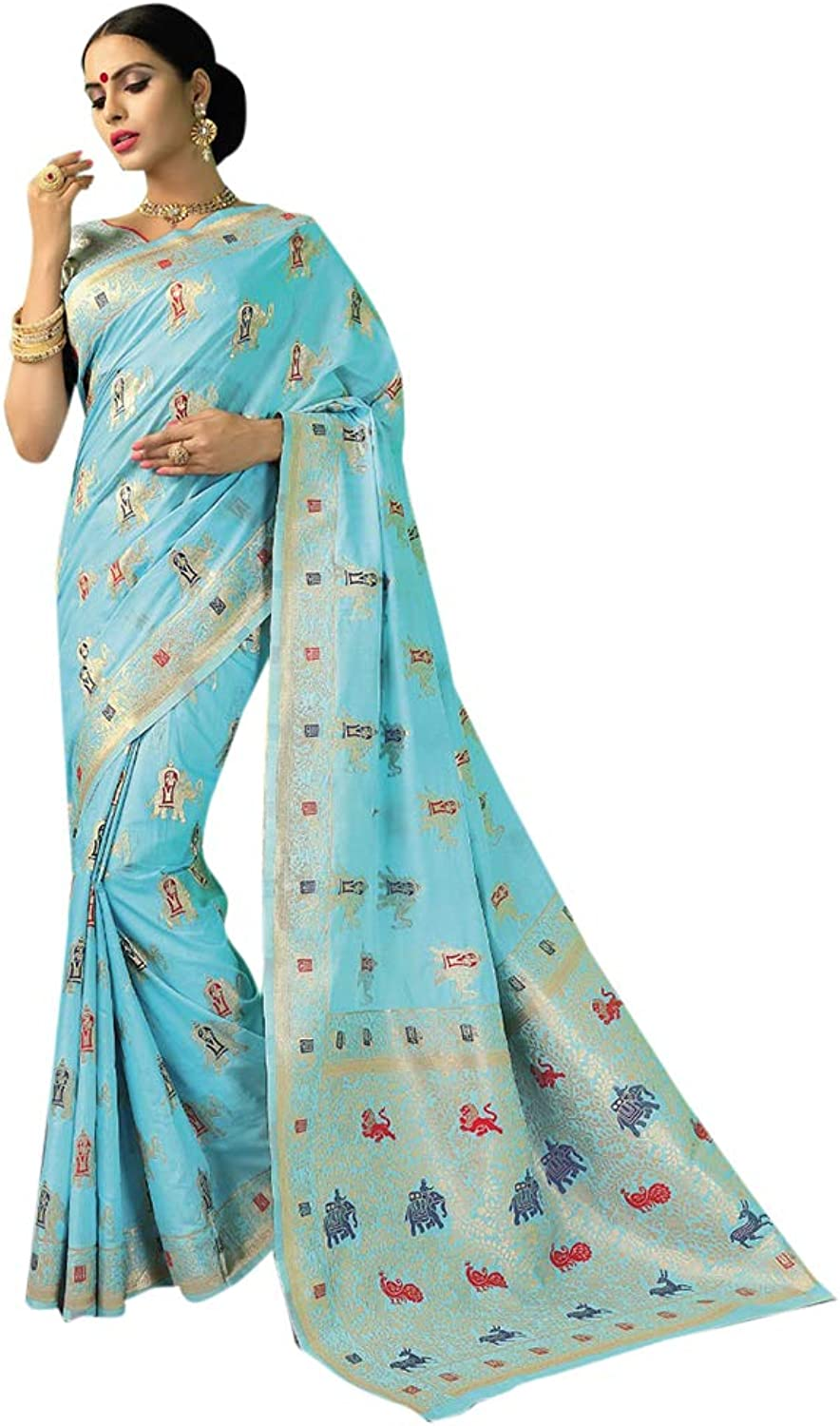 bluee Designer Handwoven Chanderi Silk Sari with Blouse for Women Indian Ethnic Party wear Saree 7629