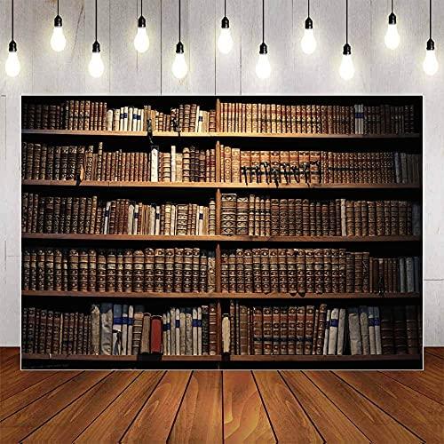 Fondo de fotografía Libro de estantería de Madera Vieja para Estudio de Biblioteca Retrato de niño cumpleaños Foto telón de Fondo Estudio A14 10x7ft / 3x2,2 m