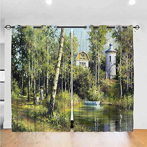 Mozenou Nature 3D Pattern Print Curtain Home Decoration Rural Scenery with an Old Ancient House The Best Choice for Bedroom and Living Room W108 x L84 Lake and Retro Tower Countryside Village Picture