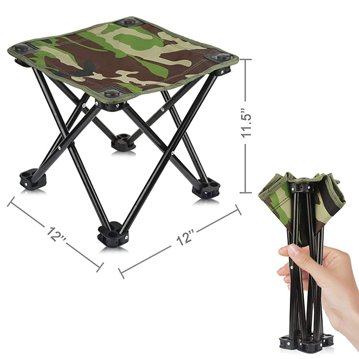 AILLOVCOL Mini Portable Folding Stool,Folding Camping Stool,Outdoor Folding Chair for BBQ,Camping,Fishing,Travel,Hiking,Garden,Beach,Oxford Cloth Seat with Carry Bag,11.5
