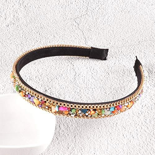 Turbantes Headband Diademas para Mujer Turbantes Diadema De Bisel De Aro De Moda con Diamantes De Imitación, Diadema De