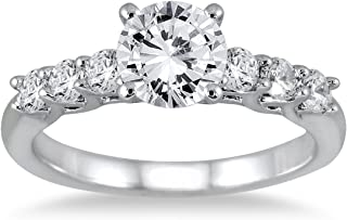 AGS Certified 1 3/8 Carat TW Seven Stone Engagement Ring in 14K White Gold (J-K Color, I2-I3 Clarity)