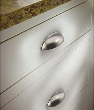 Franklin Brass Brushed Nickel Bin Cup Pull, Cabinet Handles and Drawer Pulls for Kitchen Cabinets and Dresser Drawers, 3 Inch