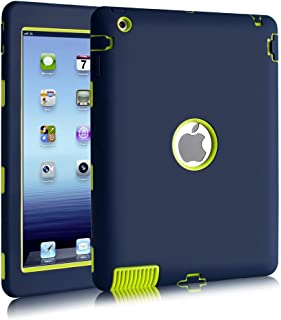 iPad 2/3 / 4 Case, Hocase Rugged Slim Shockproof Silicone Protective Case Cover for 9.7 iPad 2nd / 3rd / 4th Generation - Navy Blue/Fluorescent Green