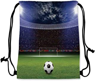 Sports Decor Practical Drawstring Bag,Soccer Ball on Stadium Arena in Night Illuminated Cheering Fans for Women,17.7''L x 36''W