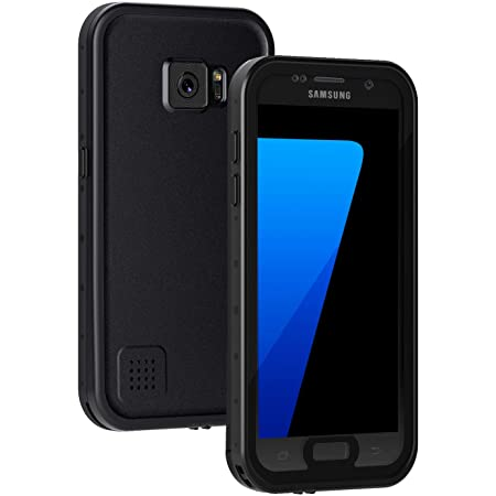 Lanhiem Samsung Galaxy S7 Case, IP68 Waterproof Dustproof Shockproof Case with Built-in Screen Protector, Full Body Sealed Underwater Protective Clear Cover for Samsung S7 (Black)