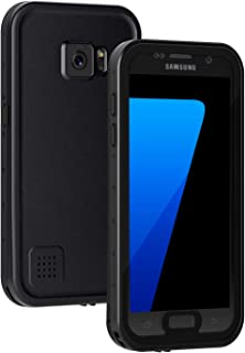 Lanhiem Galaxy S7 Case, IP68 Waterproof Dustproof Shockproof Case with Built-in Screen Protector, Full Body Sealed Underwater Protective Cover for Samsung Galaxy S7 (Black)
