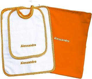 Crociedelizie, Set asilo 3 pezzi bavaglino sacca asciugamano salvietta ricamo nome bimbo personalizzato