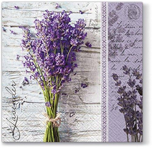 20 Servietten Frischer Lavendelstrauß/Lavendel/Blumen 33x33cm