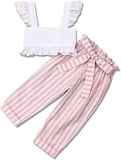 2Pcs Toddler Girl Wide Leg Pants Outfit Off Shoulder Vest Tops+Floral Pants Set