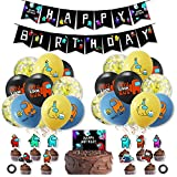 smileh Cumpleaños Decoracion de Among Us Globos Pancarta de Feliz Cumpleaños Adornos para Pastel de Juegos
