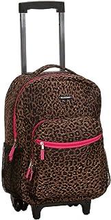 KidsブラウンヒョウパターンRollingバックパック、美しいAfricanテーマダッフル、エキゾチックジャングル動物園サファリ印刷スーツケース、子供用スクールバッグ、ダッフルwithホイール、Wheeling Luggage、軽量ファッショナブル