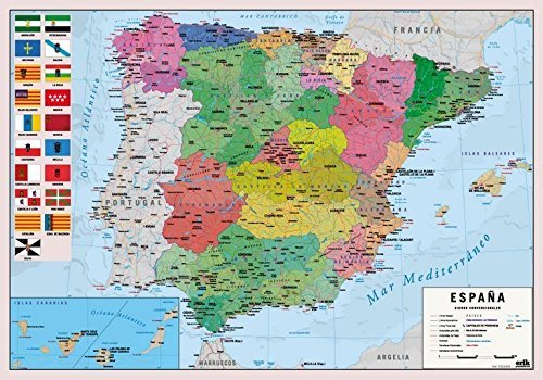 Vade mapa España - Tapete escritorio, Vade escolar multifuncional, Protector escritorio
