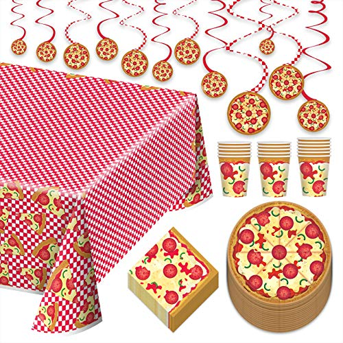 Pizza Party Dinner Pack - Paper Dinner Plates, Lunch Napkins, Cups, Paper Table Cover, and Hanging Cutouts Set (Serves 16)