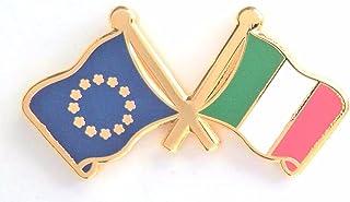 1000 bandiere dell'Italia e della bandiera dell'Unione Europea di cortesia dell'amicizia (placcato in oro vero)