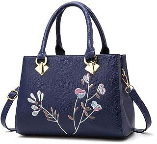 Women's embroidered handbag, embroidered shoulder bag, simple messenger bag, large capacity travel bag, polyester texture, multi-layer design, multi-color optional (Color : Blue, Size : One size)