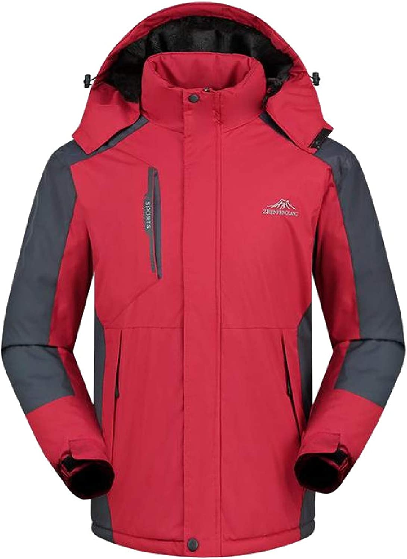 Abetteric Men Windproof Waterproof Outwear PlusSize Thickened Windproof Coat