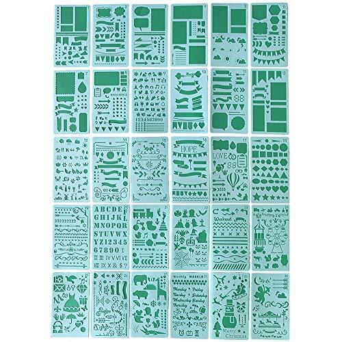 Duan Stencil Art Set de 30, Plantillas Reutilizables, Herramientas de Dibujo para Scrapbook Planner Journal Card Graffiti con Bolsa de Almacenamiento