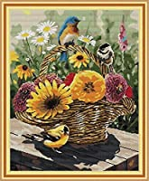 Joy Sunday クロスステッチキット 14CTスタンプ刺繍キット 正確なプリント刺繍キット - 鳥と花のバスケット 44×53cm