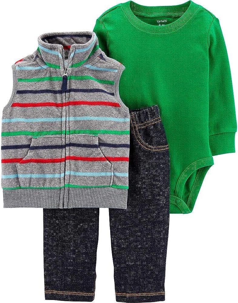 Carter's Baby Boys' Vested Cardigan Sets - Striped Denim- Newborn