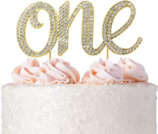 1st First Birthday Cake Topper Decoration - Gold One 1-1st Birthday Party Supplies Smash Cake Decorations - For Baby Girls Or Boys (One Gold)