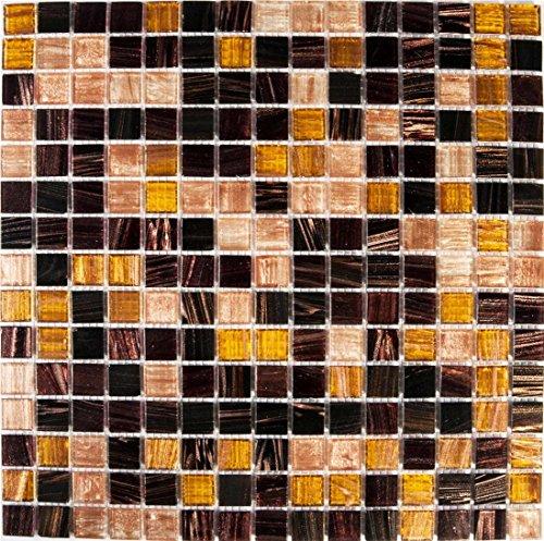 Golden Star Tigers Eye vetro mosaico piastrelle opaca in oro, marrone e giallo con strisce (MT0062)