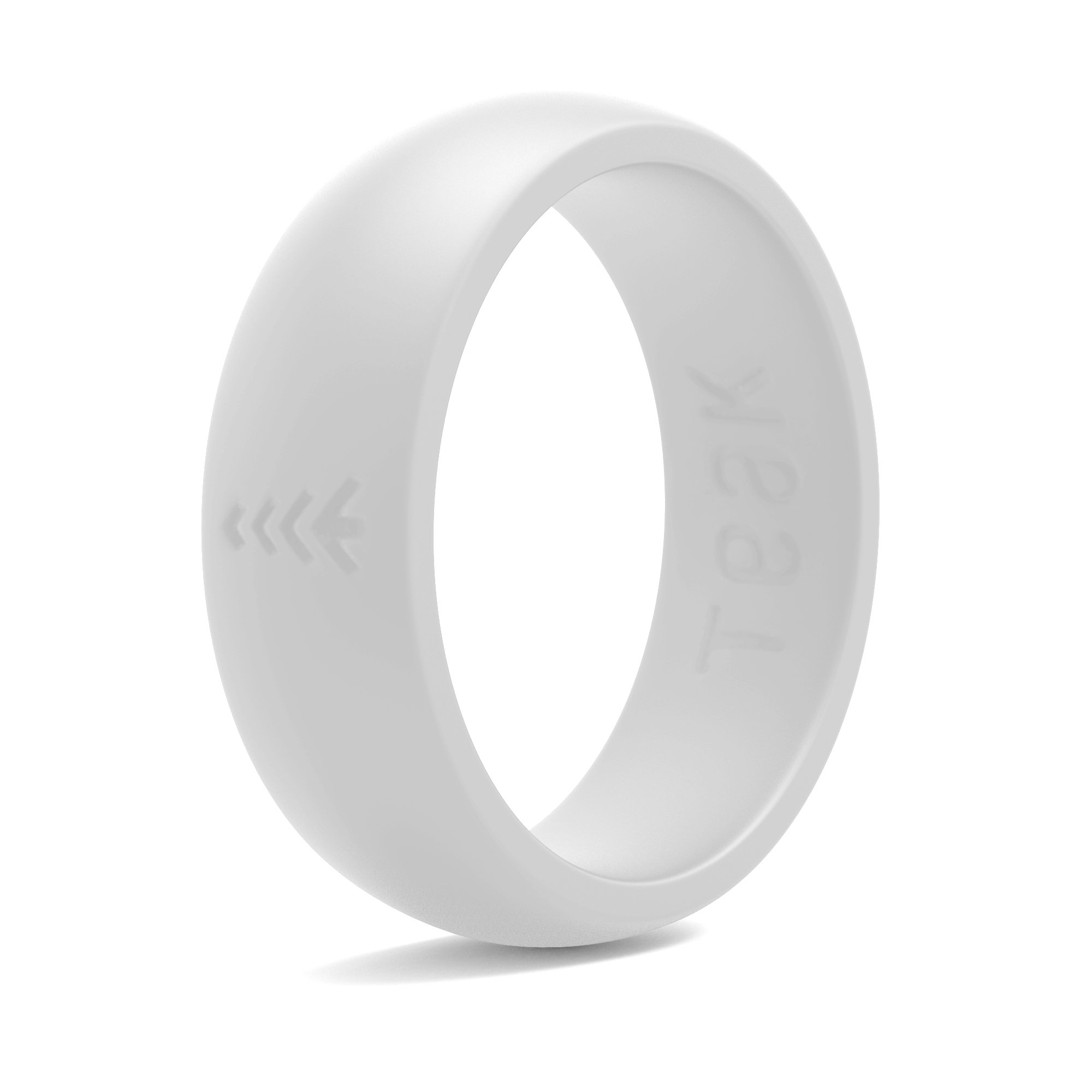 This is a picture of Silicone Wedding Ring for Women. Rubber Wedding Band for Every Day Use - Yoga, Training, Sports, Military, Work, Travel and Outdoor - White - Size 43
