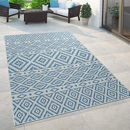 Paco Home In- & Outdoor-Teppich, Für Balkon Und Terrasse Mit Skandi-Muster, In Blau, Grösse:60x100 cm