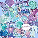 Anor Wishlife Mermaid Luggage Stickers(60pcs),Mermaid Laptop Stickers,Mermaid Skateboard Stickers,Mermaid Notebooks Stickers,Mermaid PVC Waterproof Stickers for Kids,Adults,Cars,Motorcycles,Bicycles